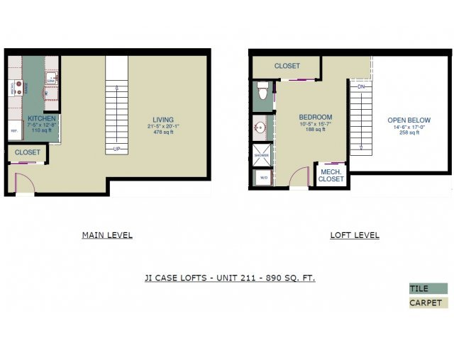 1 Bedroom 1 Bathroom Apartment for rent at JI Case Lofts in Lansing, MI