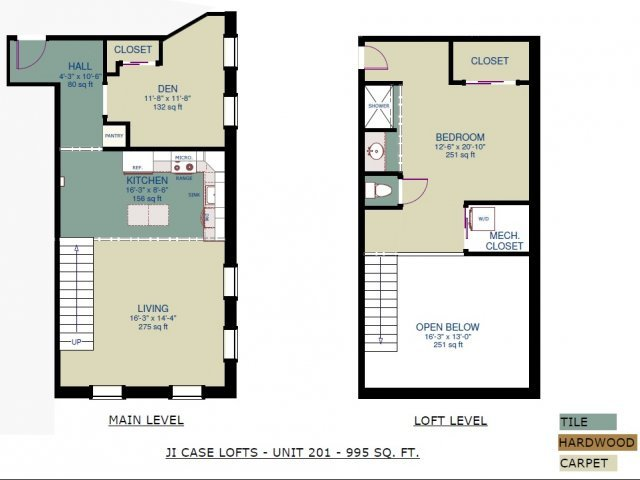 1 Bedroom 1 Bathroom Apartment for rent at JI Case Lofts in Lansing, MI