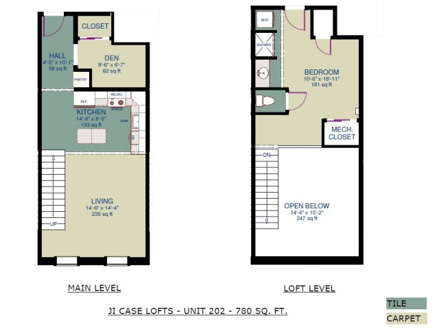 2 Bedrooms 1 Bathroom Apartment for rent at JI Case Lofts in Lansing, MI