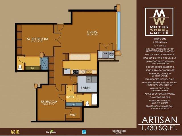 2 Bedrooms 2 Bathrooms Apartment for rent at Motorwheel Lofts in Lansing, MI