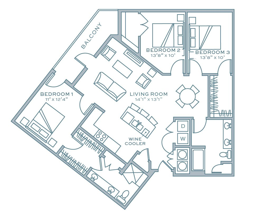 3 Bedrooms 2 Bathrooms Apartment for rent at Aston City Springs in Sandy Springs, GA