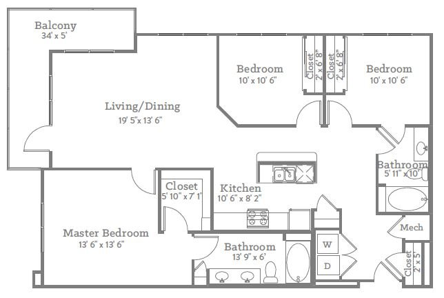 3 Bedrooms 2 Bathrooms Apartment for rent at The Place On Ponce in Decatur, GA