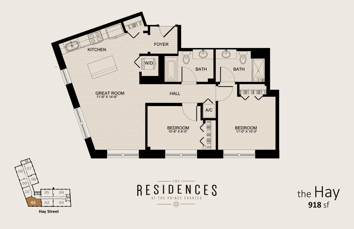 2 Bedrooms 2 Bathrooms Apartment for rent at The Residences At The Prince Charles in Fayetteville, NC