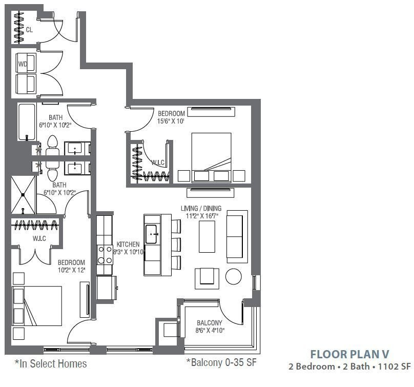 2 Bedrooms 2 Bathrooms Apartment for rent at Atelier At University Park in Denver, CO