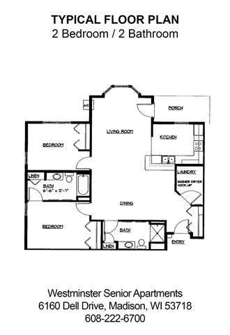 2 Bedrooms 2 Bathrooms Apartment for rent at Westminster Senior Apartments in Madison, WI