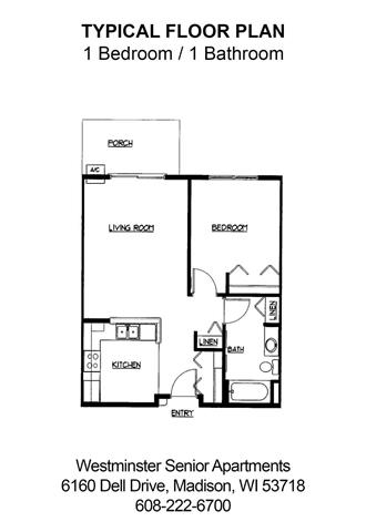 1 Bedroom 1 Bathroom Apartment for rent at Westminster Senior Apartments in Madison, WI