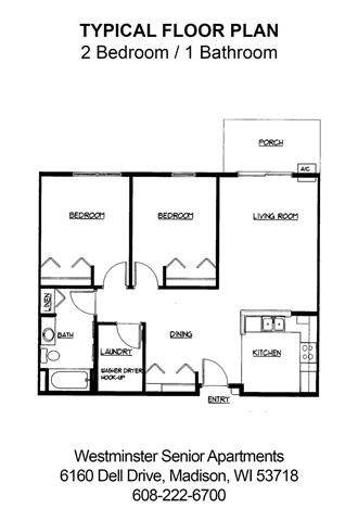 2 Bedrooms 1 Bathroom Apartment for rent at Westminster Senior Apartments in Madison, WI