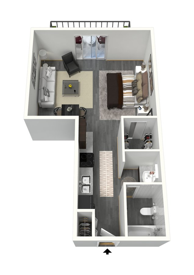 Studio 1 Bathroom Apartment for rent at The Paramount in Denver, CO