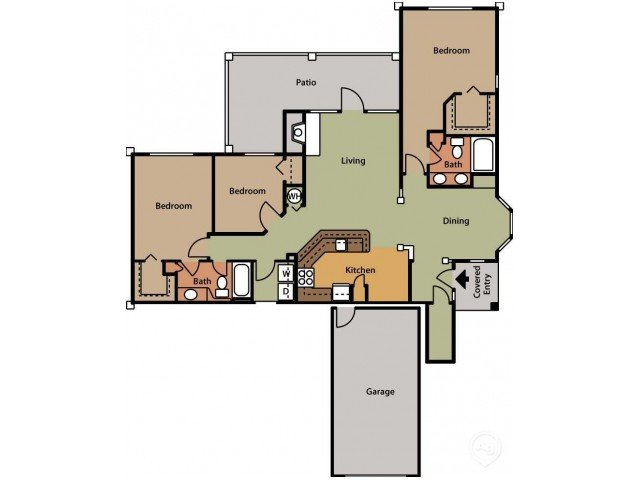 3 Bedrooms 2 Bathrooms Apartment for rent at Brook Arbor Apartments in Cary, NC