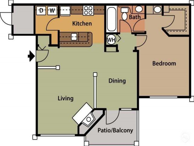 1 Bedroom 1 Bathroom Apartment for rent at Brook Arbor Apartments in Cary, NC