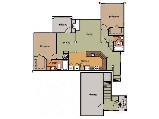 2 Bedrooms 2 Bathrooms Apartment for rent at Brook Arbor Apartments in Cary, NC