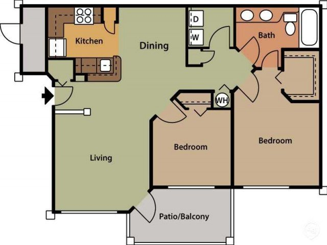 2 Bedrooms 1 Bathroom Apartment for rent at Brook Arbor Apartments in Cary, NC
