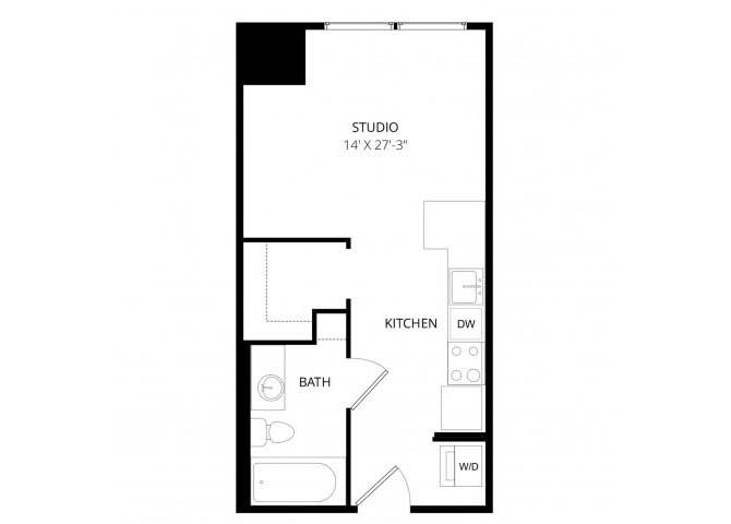 Studio 1 Bathroom Apartment for rent at 7 West in Minneapolis, MN