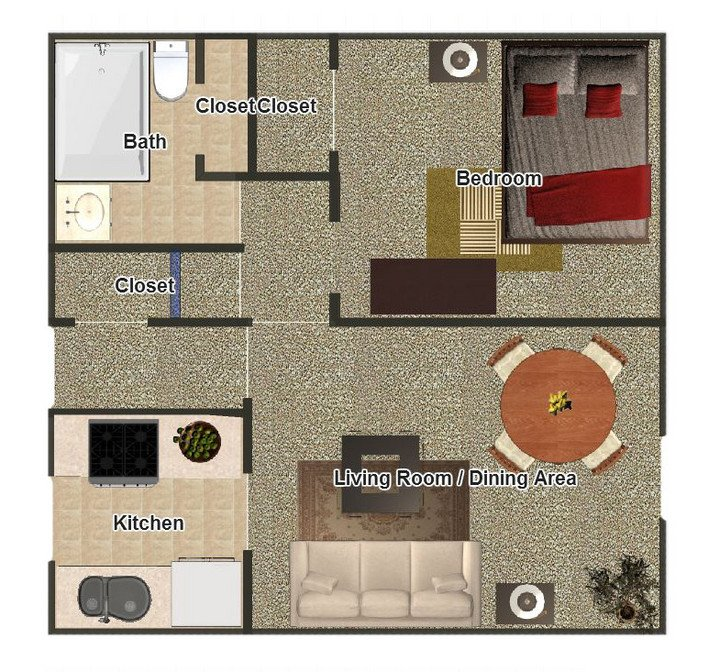 1 Bedroom 1 Bathroom Apartment for rent at Hillcrest Apartments in Memphis, TN