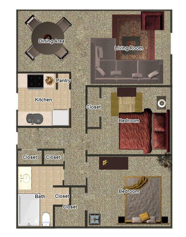 2 Bedrooms 1 Bathroom Apartment for rent at Hillcrest Apartments in Memphis, TN