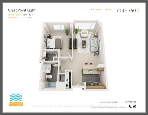 1 Bedroom 1 Bathroom Apartment for rent at Peninsula Apartments in Boston, MA