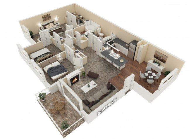 3 Bedrooms 2 Bathrooms Apartment for rent at Vesada in Riverside, CA