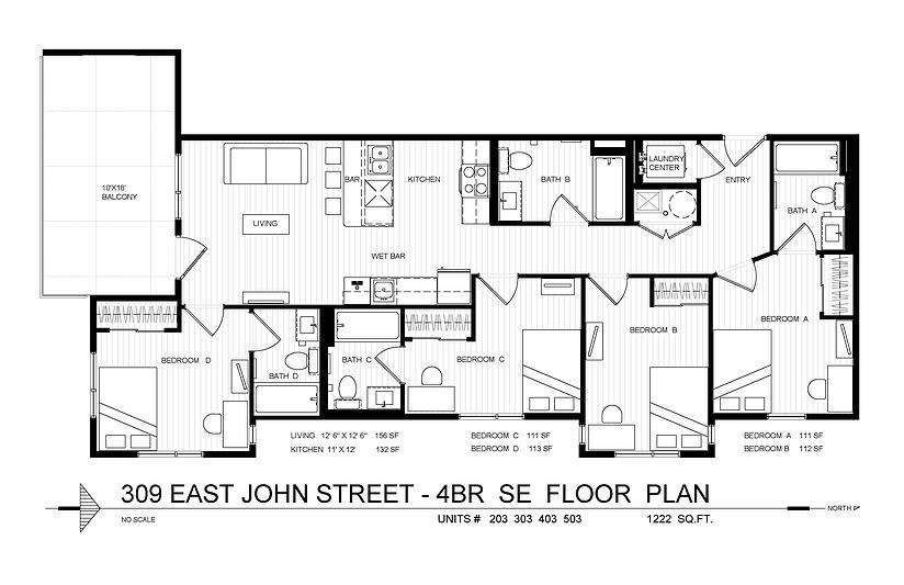 4 Bedrooms 4+ Bathrooms Apartment for rent at 309 E. John in Champaign, IL