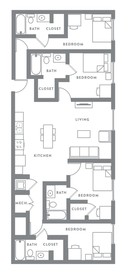 4 Bedrooms 4+ Bathrooms Apartment for rent at Muse in Omaha, NE