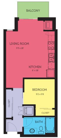 Studio 1 Bathroom Apartment for rent at Flux Apartments in Minneapolis, MN
