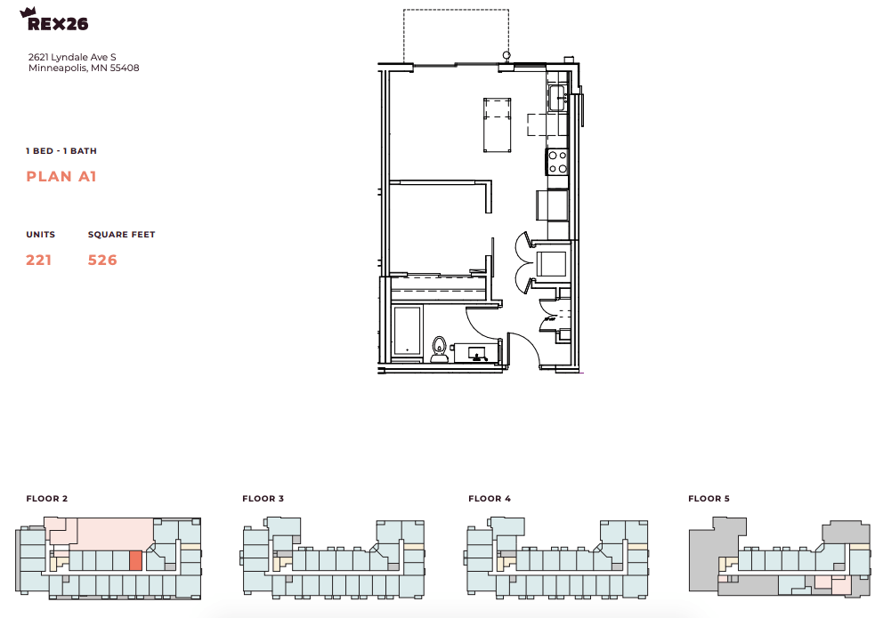 1 Bedroom 1 Bathroom Apartment for rent at Rex26 in Minneapolis, MN