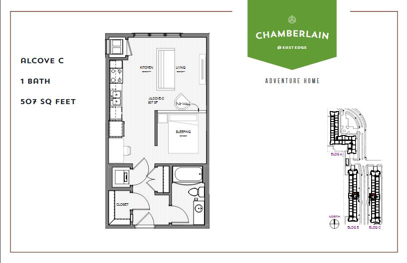 Studio 1 Bathroom Apartment for rent at Chamberlain @ Eastedge in Richfield, MN