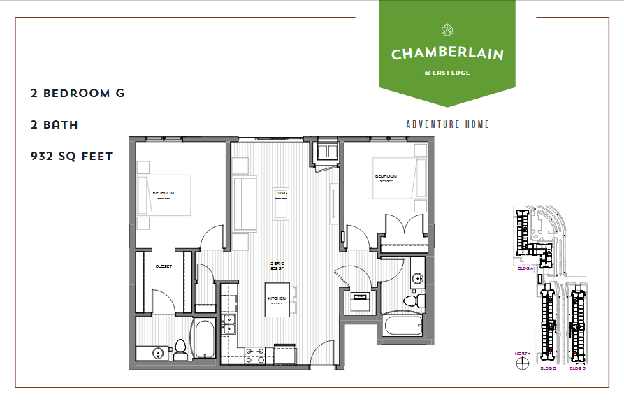 2 Bedrooms 1 Bathroom Apartment for rent at Chamberlain @ Eastedge in Richfield, MN