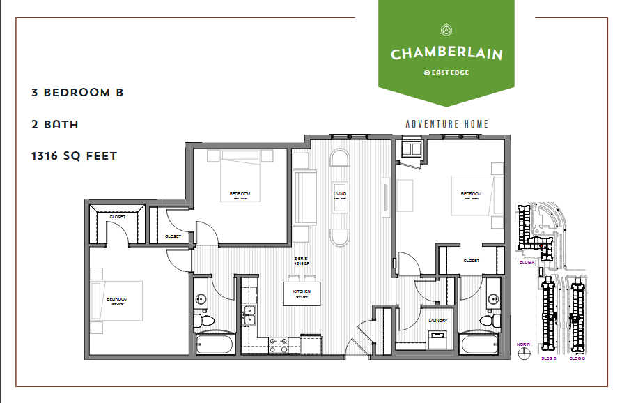 3 Bedrooms 1 Bathroom Apartment for rent at Chamberlain @ Eastedge in Richfield, MN