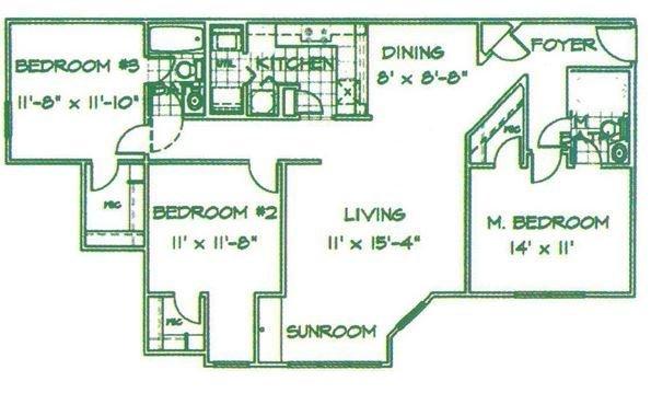3 Bedrooms 2 Bathrooms Apartment for rent at Fox Run in Camden, SC