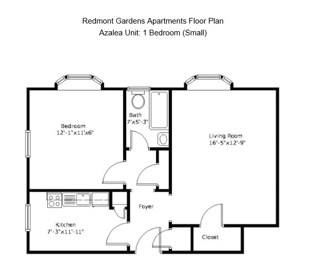 1 Bedroom 1 Bathroom Apartment for rent at Redmont Gardens Apartments in Birmingham, AL