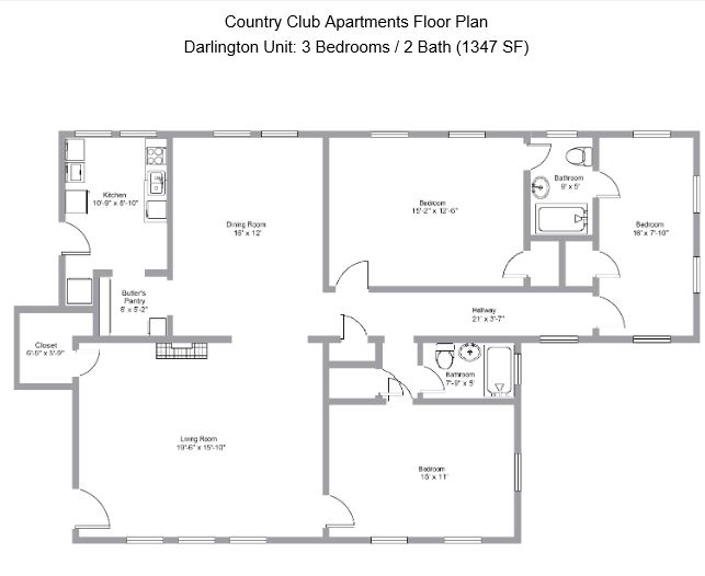 3 Bedrooms 2 Bathrooms Apartment for rent at Country Club Apartments in Birmingham, AL