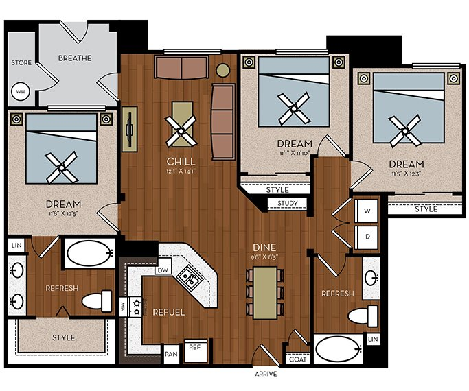 3 Bedrooms 2 Bathrooms Apartment for rent at Avion On Legacy in Scottsdale, AZ