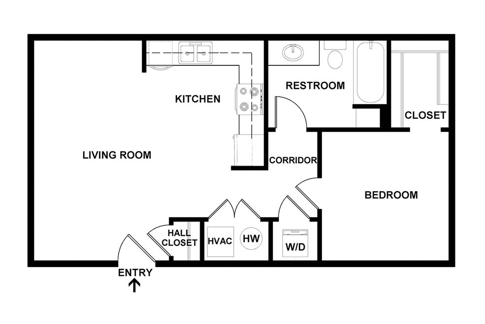 1 Bedroom 1 Bathroom Apartment for rent at Capitol Rows in Omaha, NE