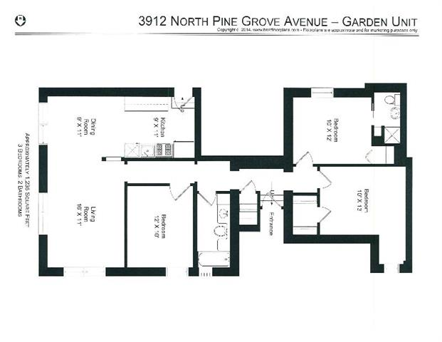 3 Bedrooms 2 Bathrooms Apartment for rent at 3912-28 N. Pine Grove in Chicago, IL