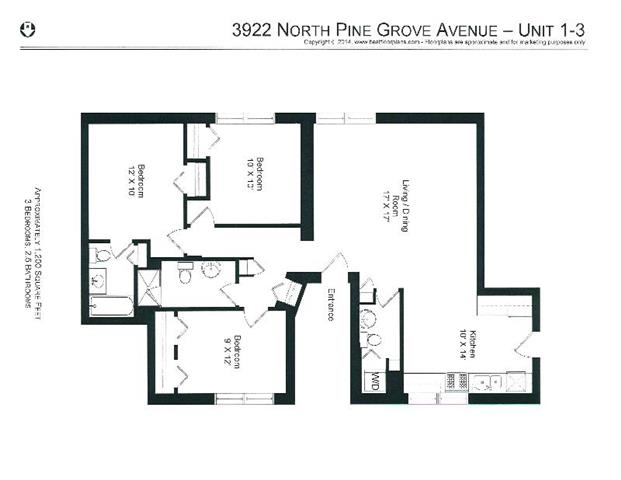 3 Bedrooms 3 Bathrooms Apartment for rent at 3912-28 N. Pine Grove in Chicago, IL