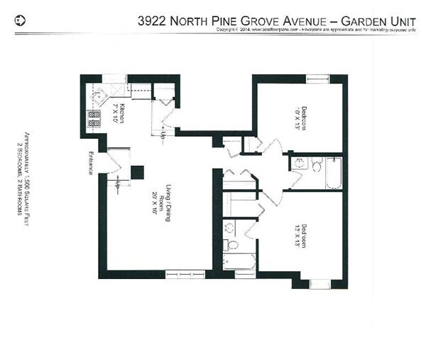 2 Bedrooms 1 Bathroom Apartment for rent at 3912-28 N. Pine Grove in Chicago, IL