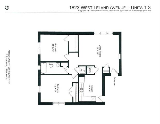 2 Bedrooms 1 Bathroom Apartment for rent at 4651-53 N. Wolcott / 1819-29 W. Leland in Chicago, IL