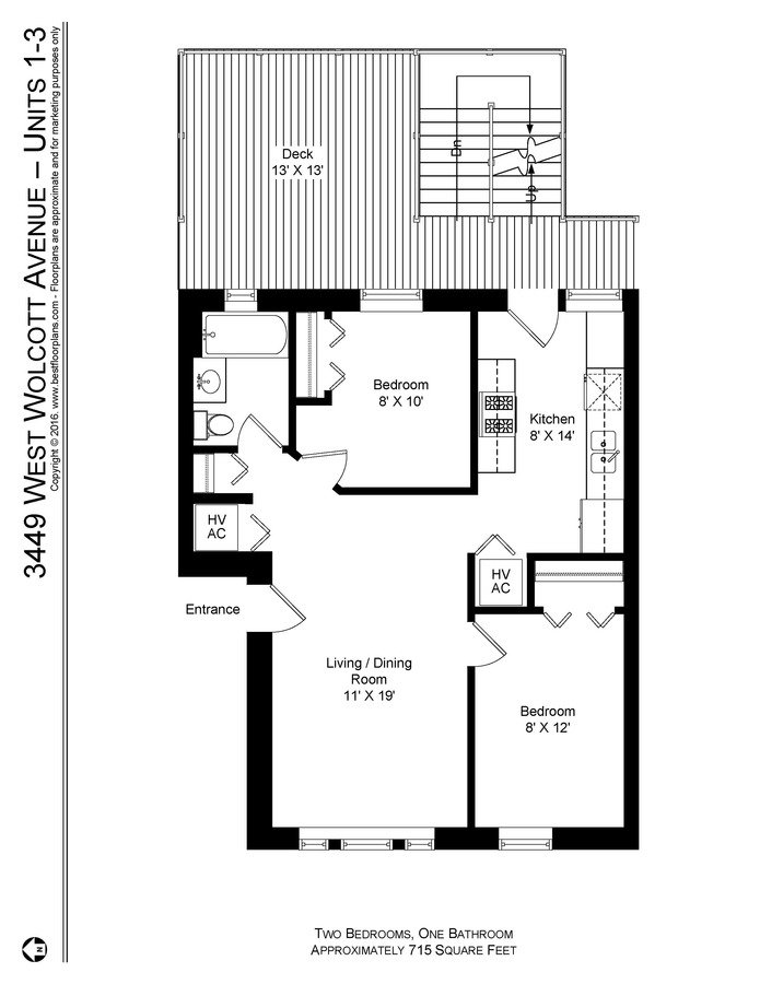 2 Bedrooms 1 Bathroom Apartment for rent at 1849-51 W. Cornelia / 3449-55 N. Wolcott in Chicago, IL