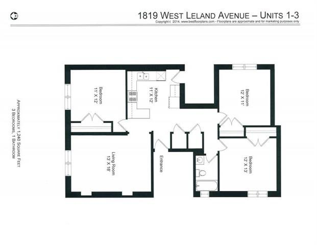 3 Bedrooms 1 Bathroom Apartment for rent at 4651-53 N. Wolcott / 1819-29 W. Leland in Chicago, IL
