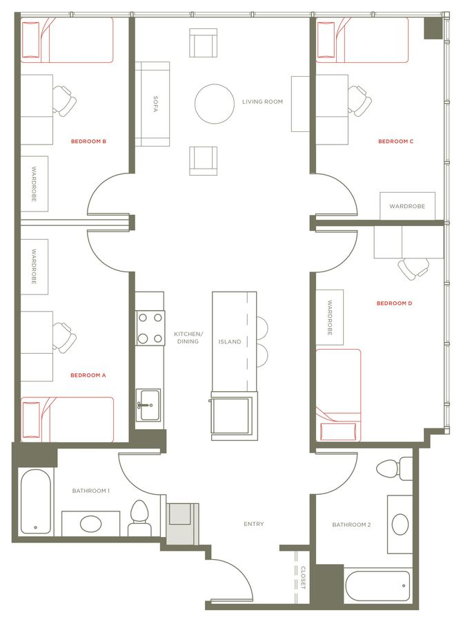 4 Bedrooms 2 Bathrooms Apartment for rent at 1237 West in Chicago, IL