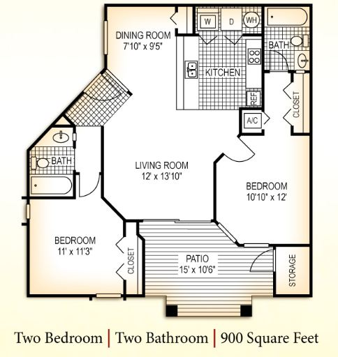2 Bedrooms 2 Bathrooms Apartment for rent at Chambers Ridge Apartments in Carrboro, NC