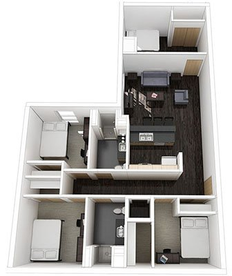 4 Bedrooms 2 Bathrooms Apartment for rent at Ivy On 14th in Madison, WI