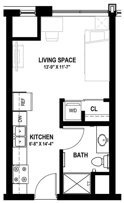 Studio 1 Bathroom Apartment for rent at Lark At Randall in Madison, WI