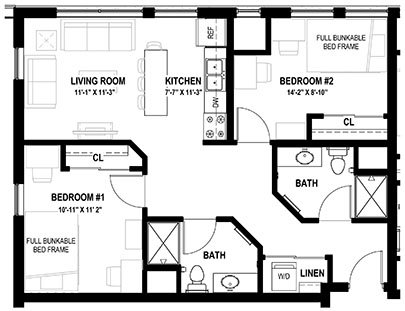 2 Bedrooms 2 Bathrooms Apartment for rent at Lark At Randall in Madison, WI