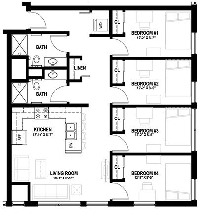 4 Bedrooms 2 Bathrooms Apartment for rent at Lark At Randall in Madison, WI