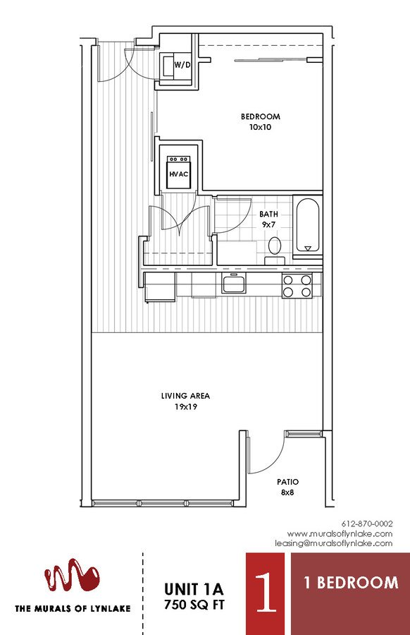 1 Bedroom 1 Bathroom Apartment for rent at The Murals Of Lynlake in Minneapolis, MN