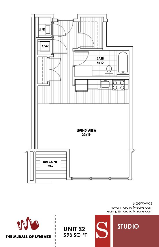 Studio 1 Bathroom Apartment for rent at The Murals Of Lynlake in Minneapolis, MN