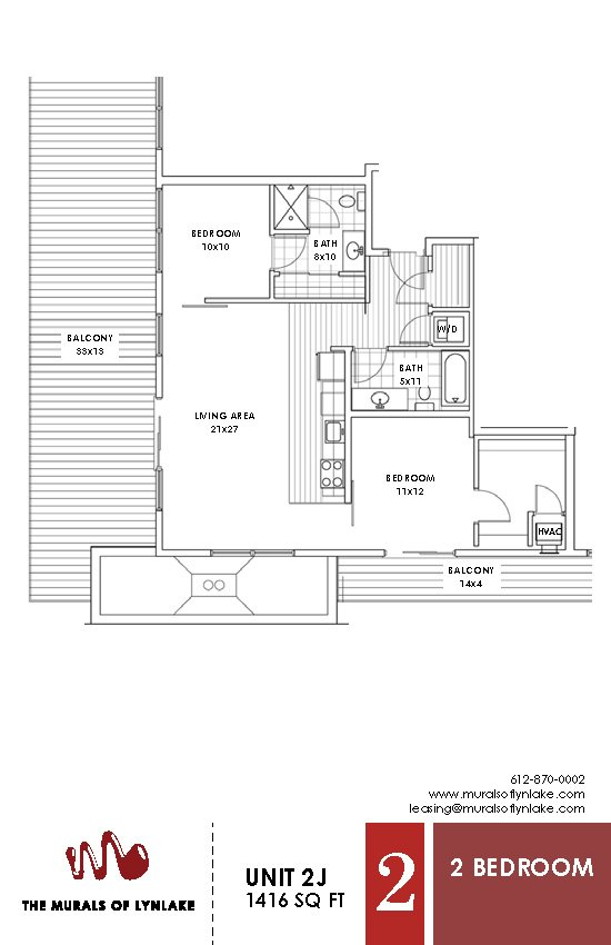 2 Bedrooms 2 Bathrooms Apartment for rent at The Murals Of Lynlake in Minneapolis, MN