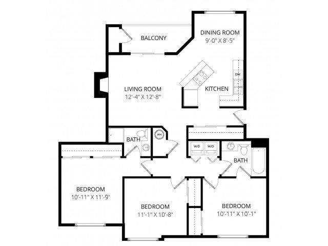 3 Bedrooms 2 Bathrooms Apartment for rent at Waterbury Park in Federal Way, WA