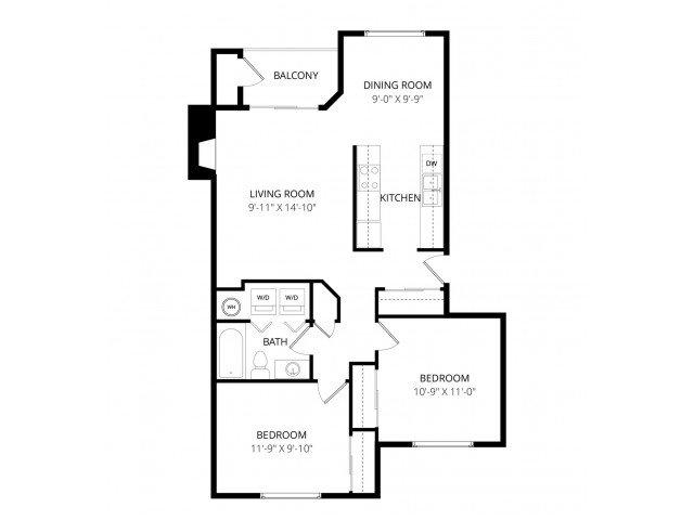 2 Bedrooms 1 Bathroom Apartment for rent at Waterbury Park in Federal Way, WA